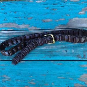 UNISEX Brown Cowhide Woven Belt Size 32